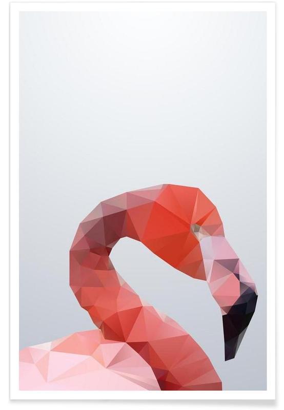 Geometrische flamingokop poster