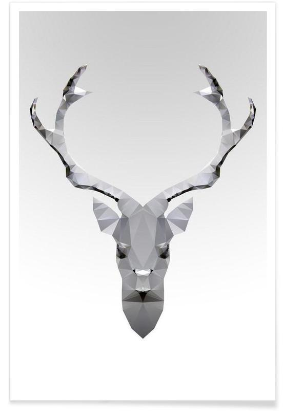 Geometrisch wit hert poster