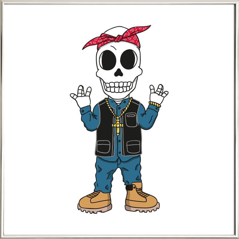 West Coast Skull poster in aluminium lijst