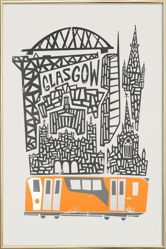 Glasgow Cityscape -Poster im Alurahmen