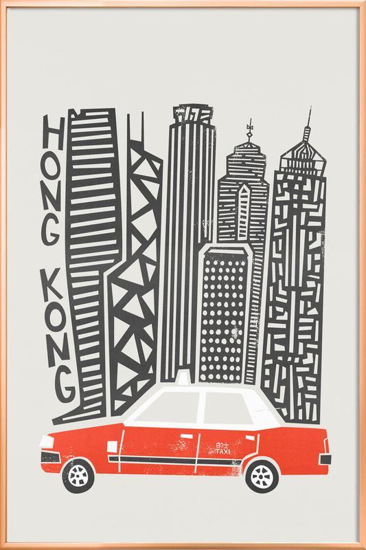 Hong Kong Cityscape Poster in Aluminium Frame