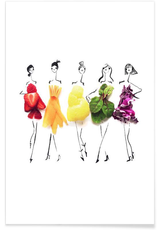 Rainbow Fashion Sketch Poster