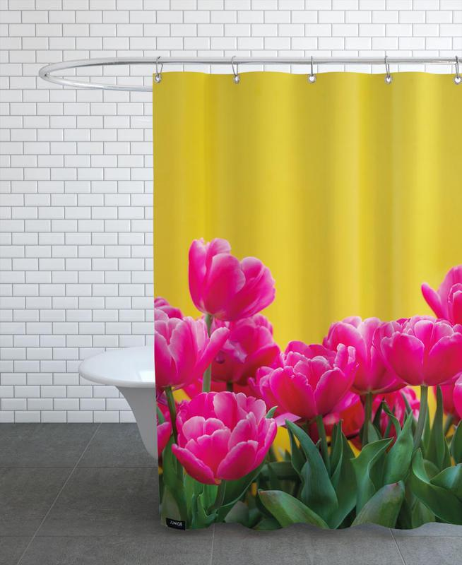 Pink Tulips Yellow Shower Curtain