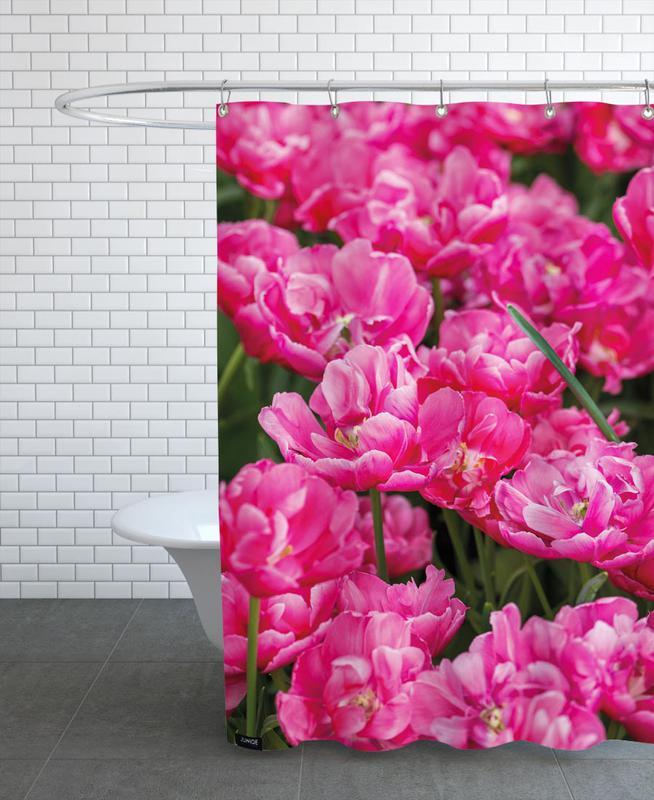 Pink Tulips Yellow Shower Curtain