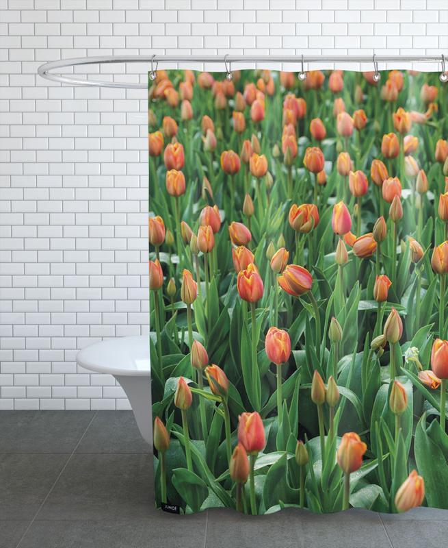 Tulip Field Orange Shower Curtain