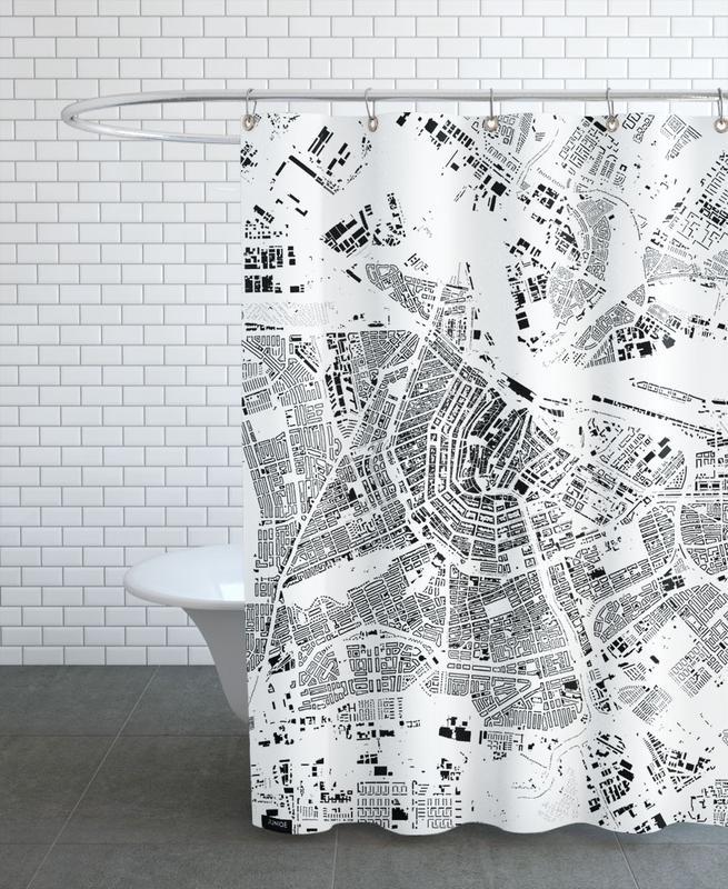 Amsterdam Map Schwarzplan -Duschvorhang