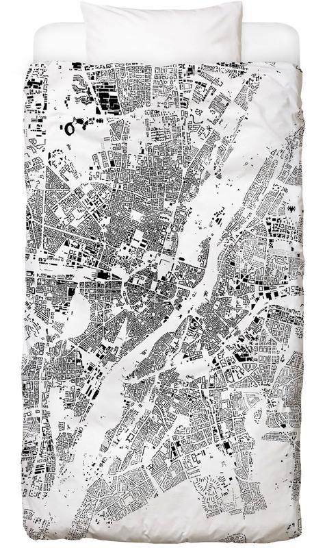 Munich Map Schwarzplan Linge de lit