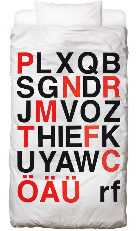 Alphabet Neon Red And Black -Kinderbettwäsche