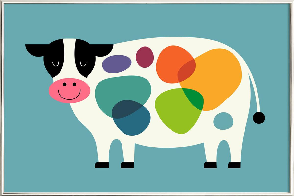 Awesome Cow Poster in Aluminium Frame