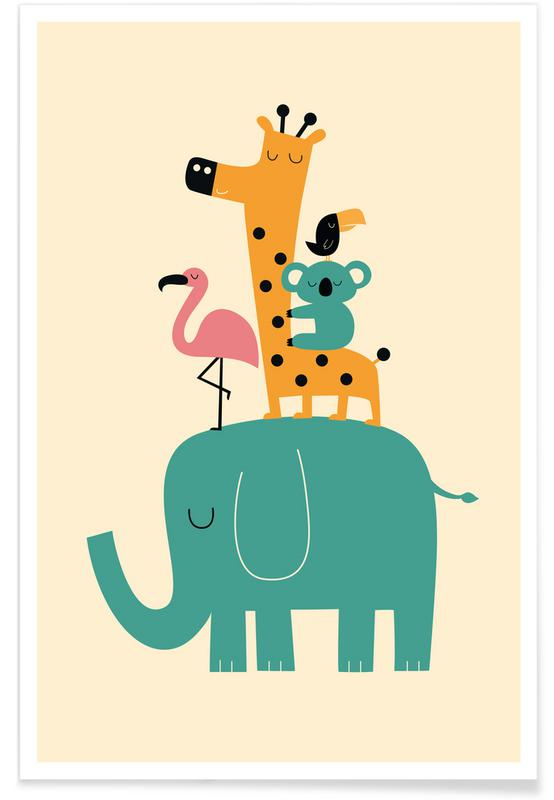 Illustration d'animaux adorables affiche