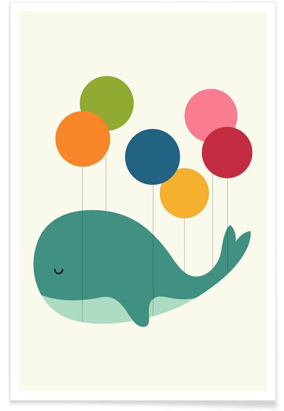 Süßer Wal und Ballon Illustration -Poster
