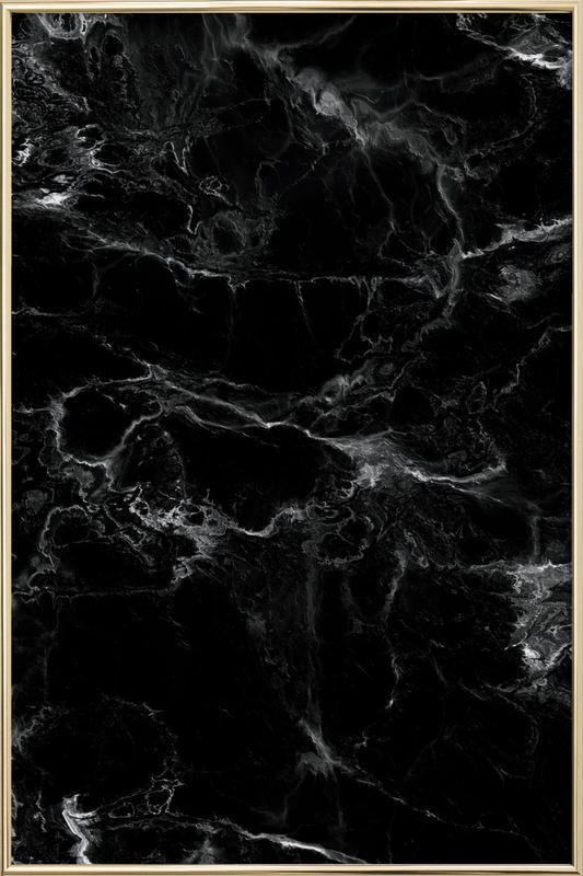 Schwarzer Marmor Poster in Aluminium Frame