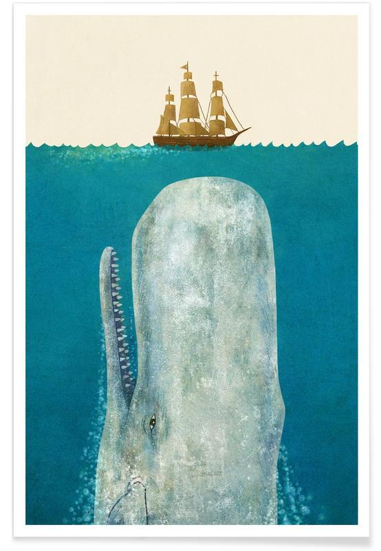 Whale Kids Illustration Poster