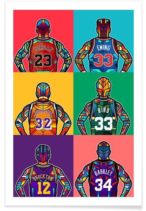Légendes de NBA pop art affiche