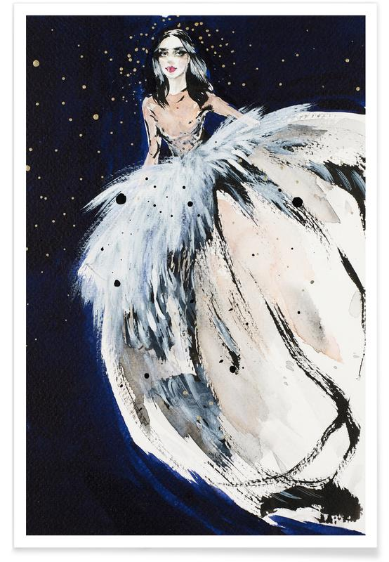 Fashion illustration at night -Poster