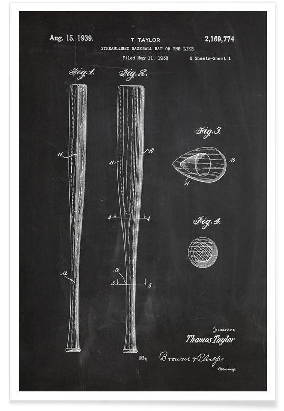 Baseball Bat Patent Poster