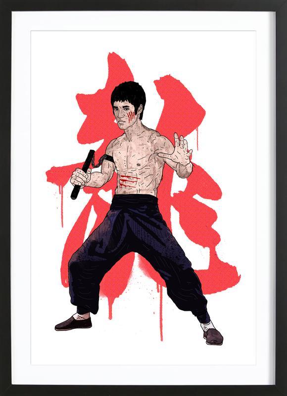 Bruce Lee -Bild mit Holzrahmen