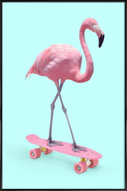 Skate Flamingo ingelijste poster