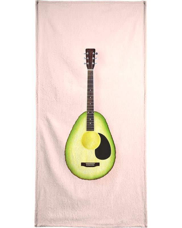 Avocado Guitar Beach Towel