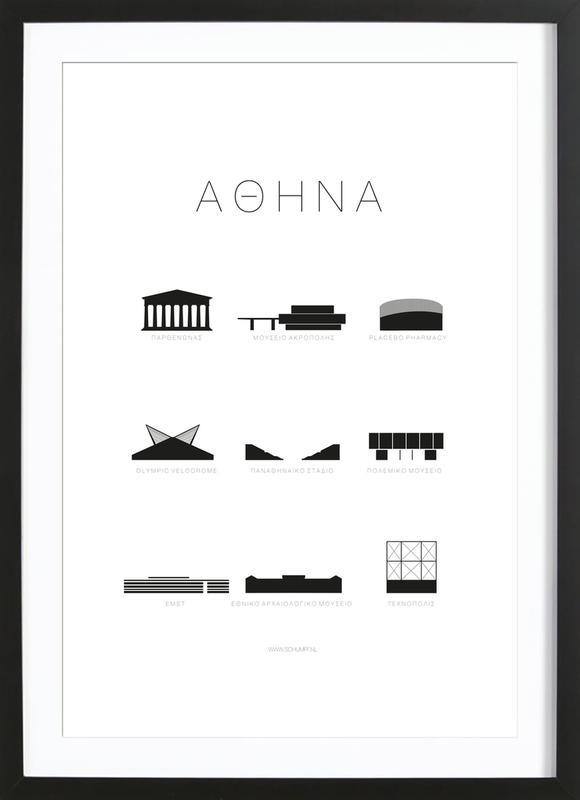 Athene affiche sous cadre en bois
