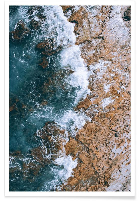 Rocky Waves Aerial Photograph Poster