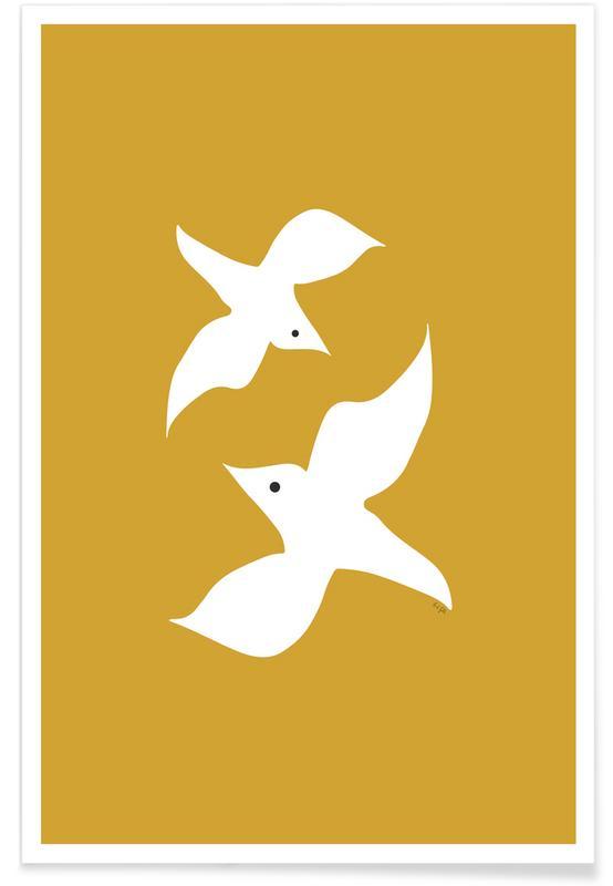 Birds in Mustard -Poster