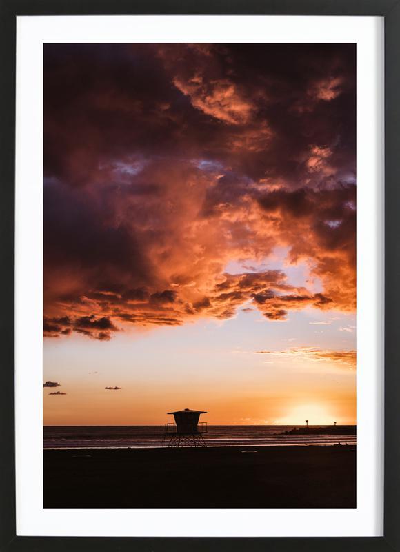 Pacific Sunset -Bild mit Holzrahmen