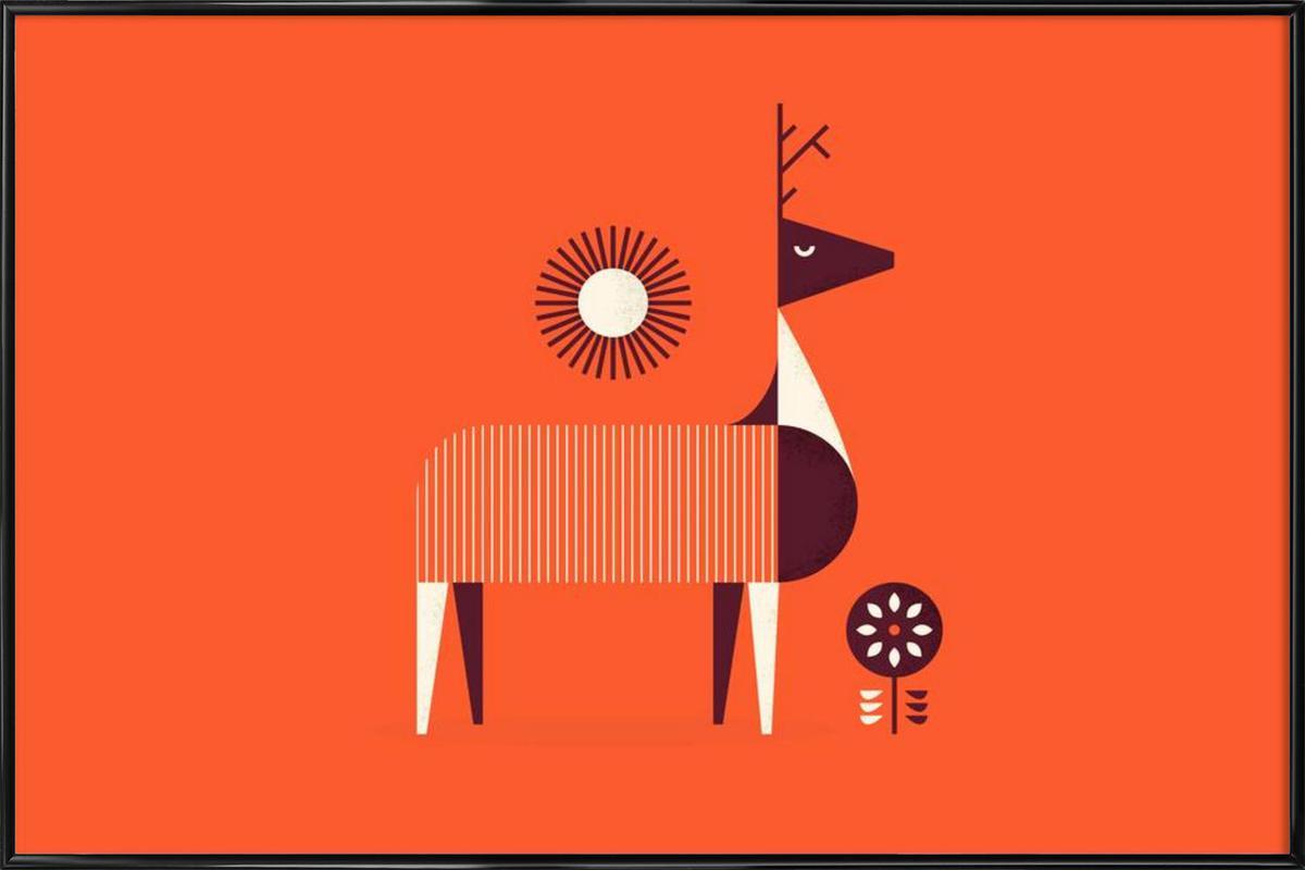 Deer -Bild mit Kunststoffrahmen
