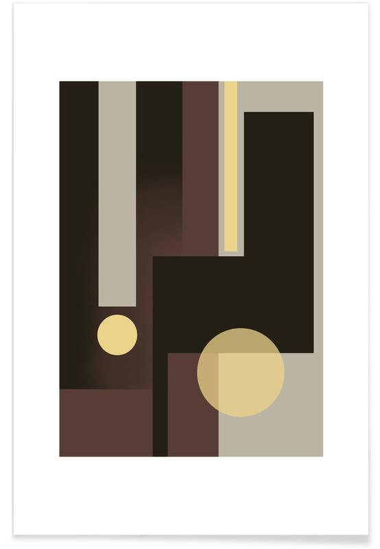 Grey, Brown & Yellow Poster