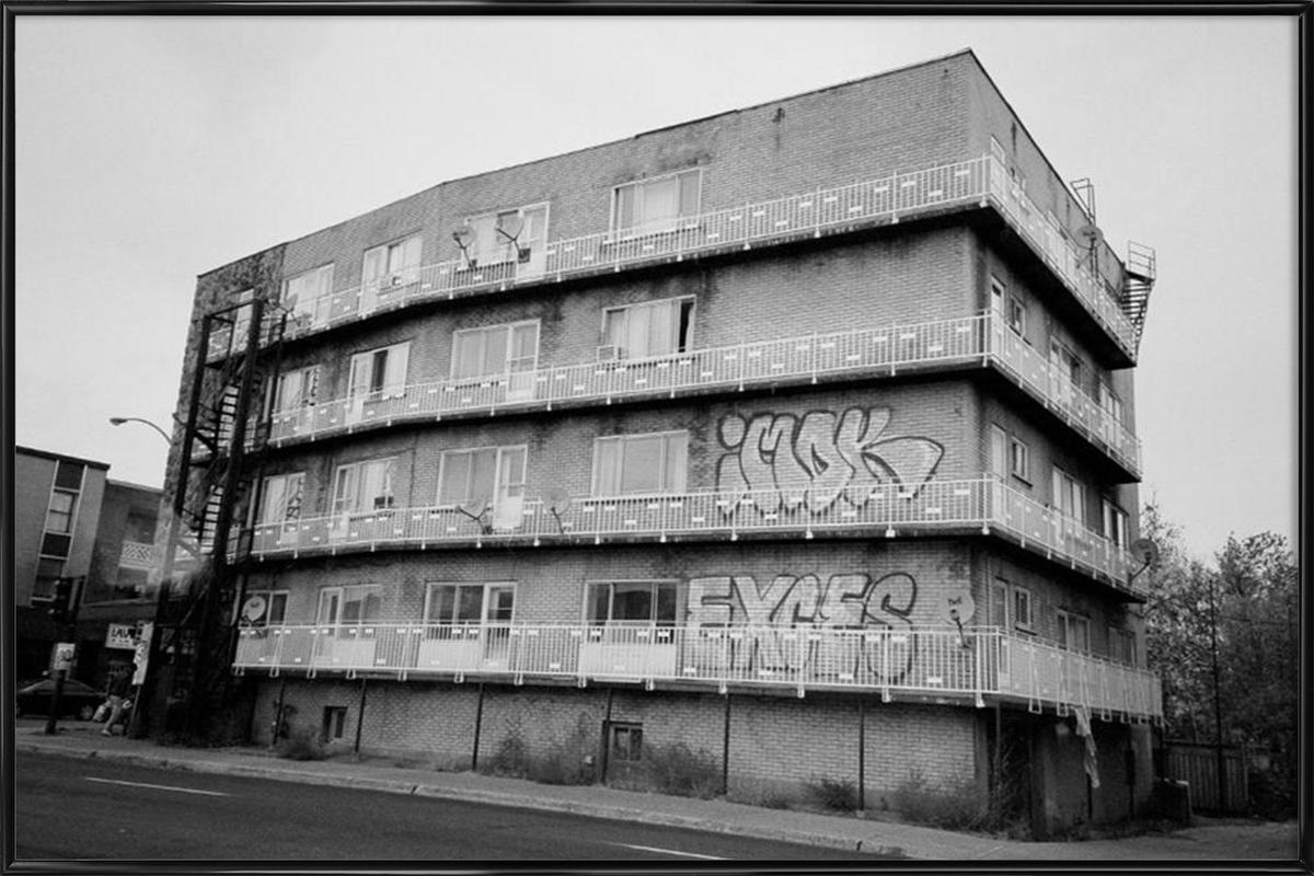 Montreal black & white Framed Poster