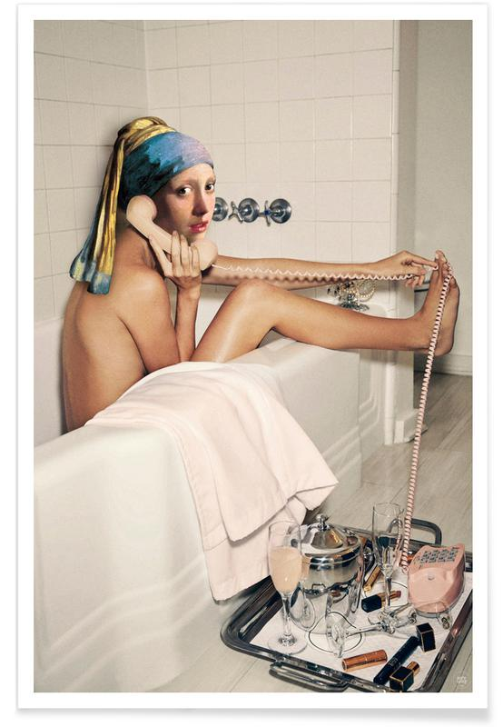 Girl with Pearl Earring Bath time -Poster