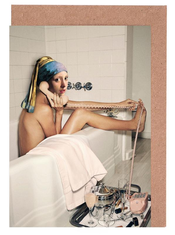 Girl with Pearl Earring Bath time Greeting Card Set
