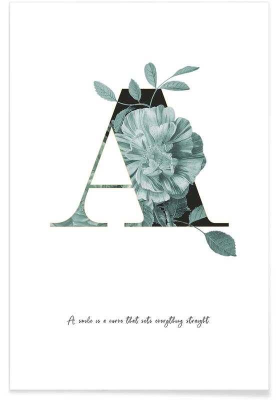 Flower Alphabet - A affiche