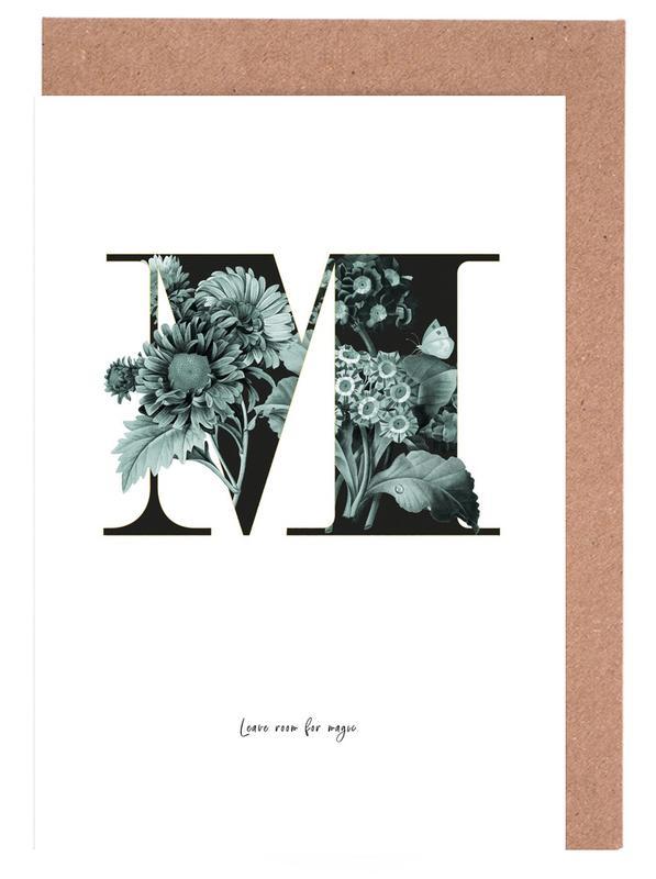 Flower Alphabet - M -Grußkarten-Set