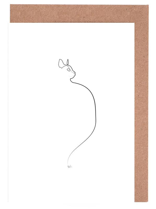 One Line Cat 0207 Greeting Card Set