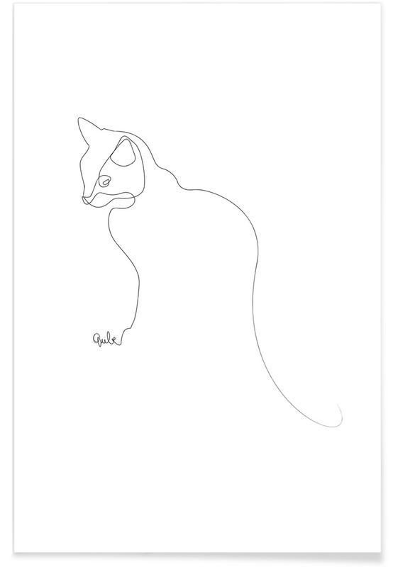 Katze-Linienzeichnung -Poster
