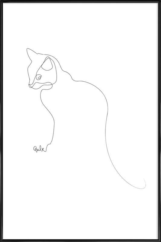 One Line Cat Framed Poster
