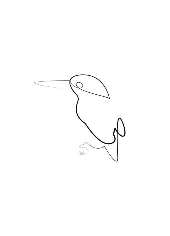 One Line Night Bird -Leinwandbild