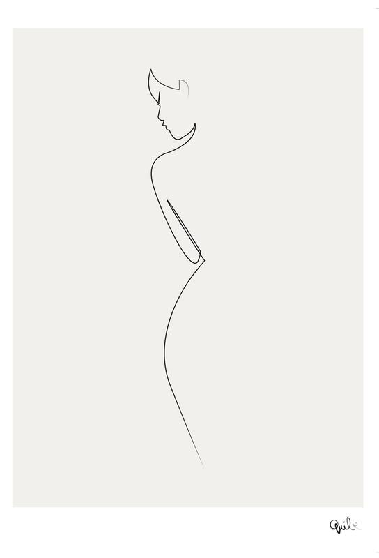 One Line Nude Akrylglastavla