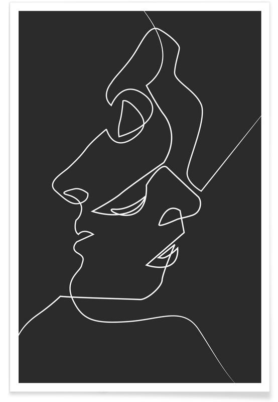 Dark Faces Line Drawing Plakat