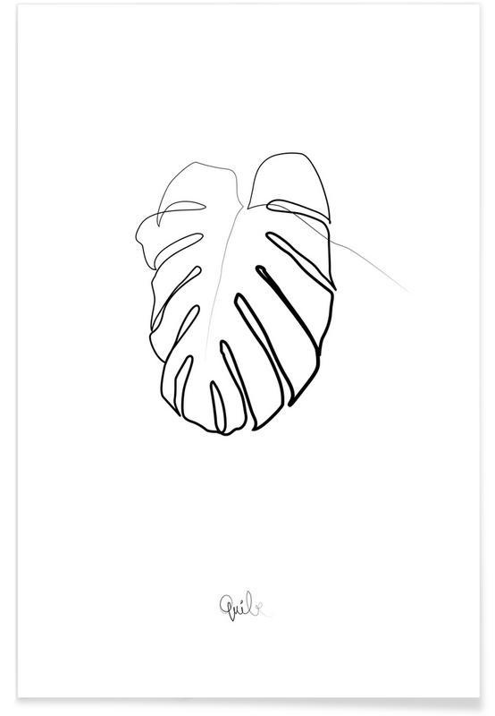Monstera-Linienzeichnung -Poster