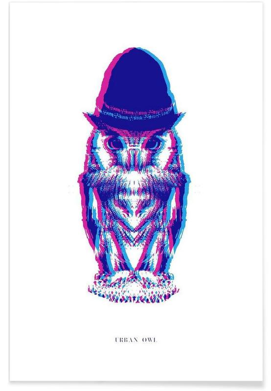 Magenta Owl with cyan beanie póster