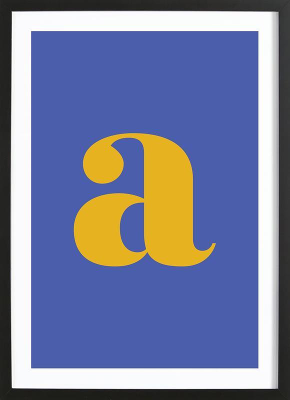 Blue Letter A affiche sous cadre en bois