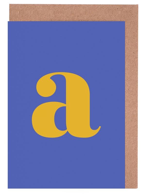 Blue Letter A -Grußkarten-Set