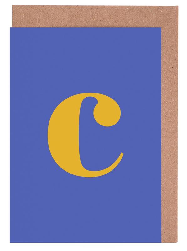 Blue Letter C cartes de vœux