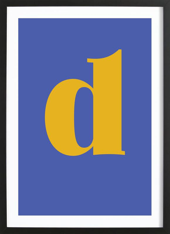Blue Letter D affiche sous cadre en bois
