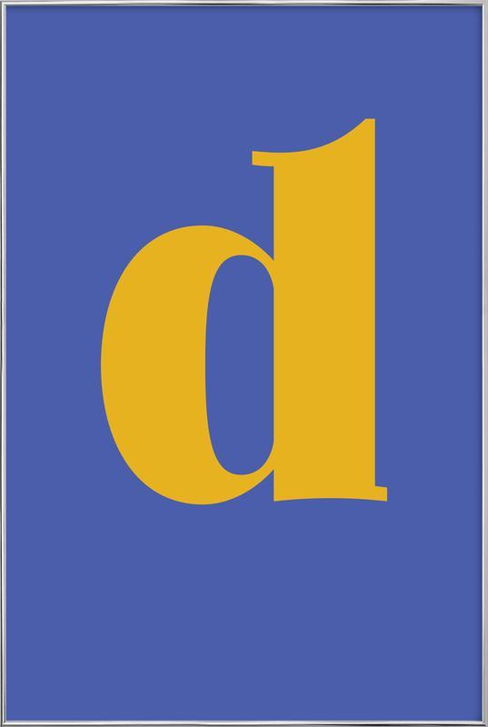 Blue Letter D affiche sous cadre en aluminium