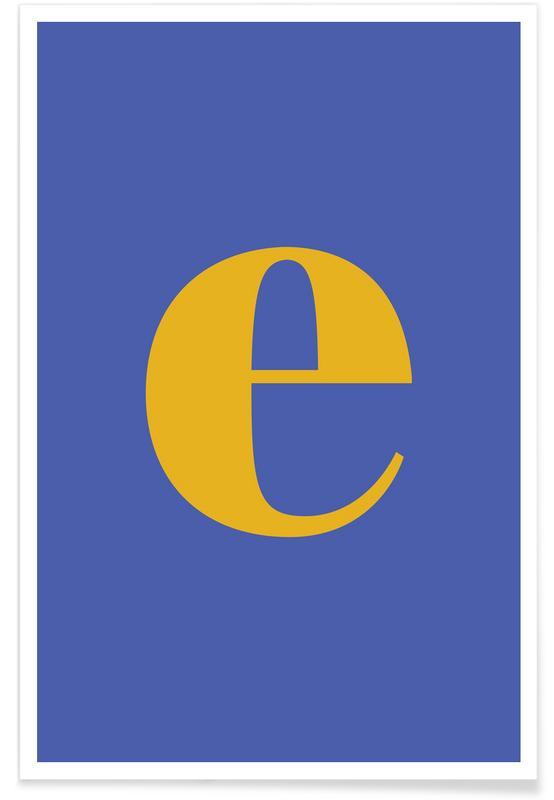 Blue Letter E affiche