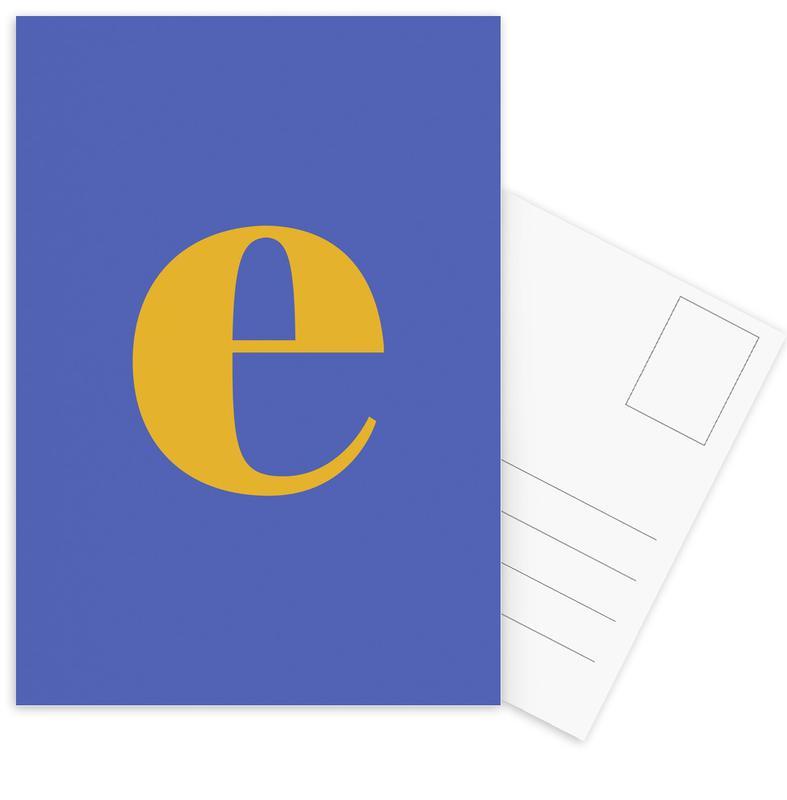 Blue Letter E cartes postales
