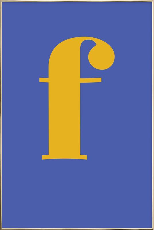 Blue Letter F Poster in Aluminium Frame